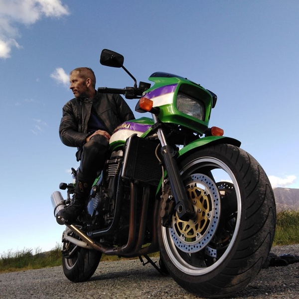 Pete Langford from Apex Construction sitting on his 1980s kawasaki z1000r