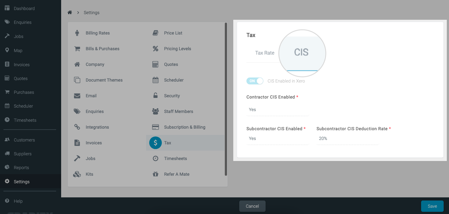 CIS integration tradify screenshot