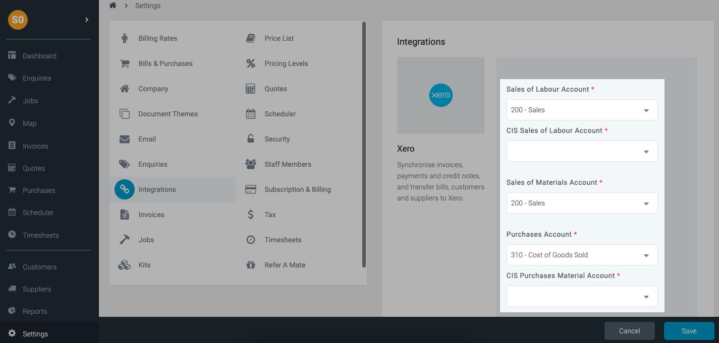CIS Xero integration