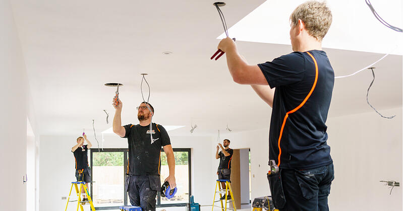 For tradesmen on ladders installing new downlights