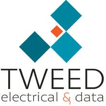 The words Tweed Electrical & Data with a logo made up of three larger teal squares and one small orange square