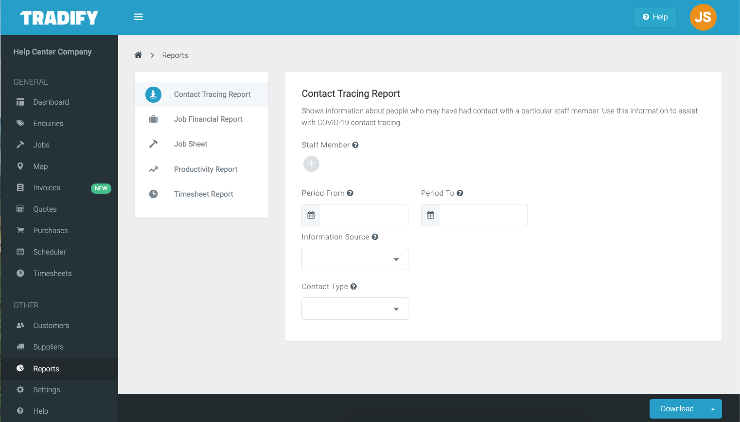 Contact Tracing Report in Tradify