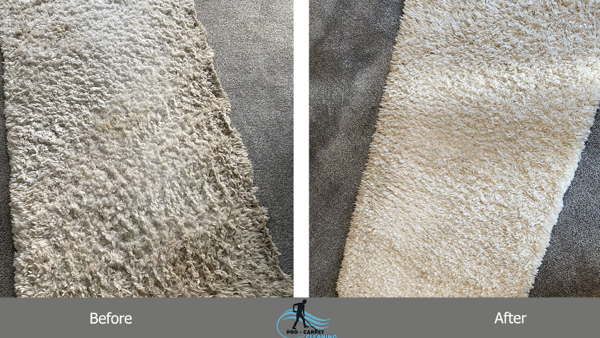 Customer Stories_Pro Carpet Cleaning_Before and after white rug cleaning