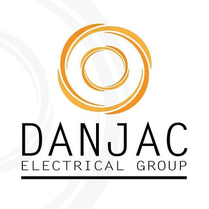 The words DanJac Electrical Group with a logo of an orange-yellow swirl