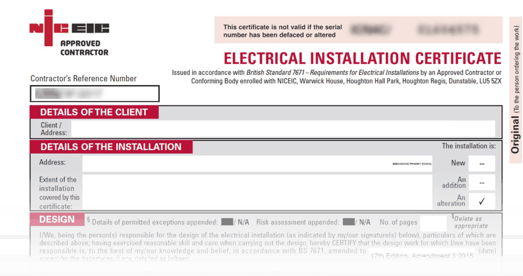 Example of an EICR that UK Electricians will complete