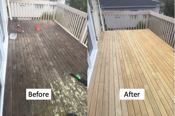 A before and after photo showing a dirty, mossy deck on the left and clean, new deck on the right, built by Handy Andy