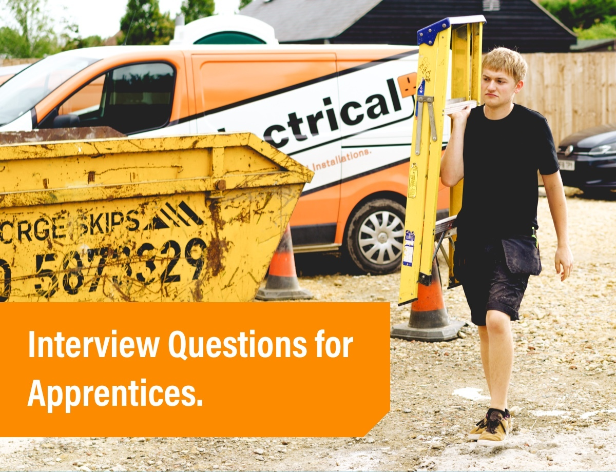 Interview Questions for Apprentices hero image apprentice walking with ladder