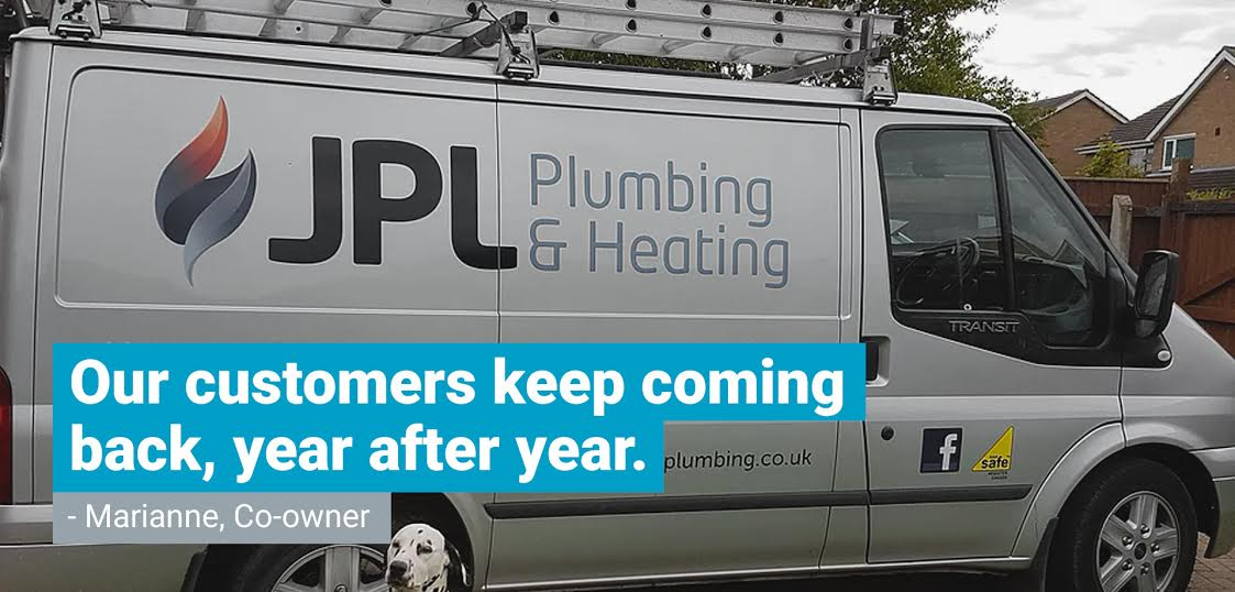 """A JPL Plumbing and Heating work van overlayed with a quote from co-owner Marianne saying """"Our customers keep coming back, year after year."""""""