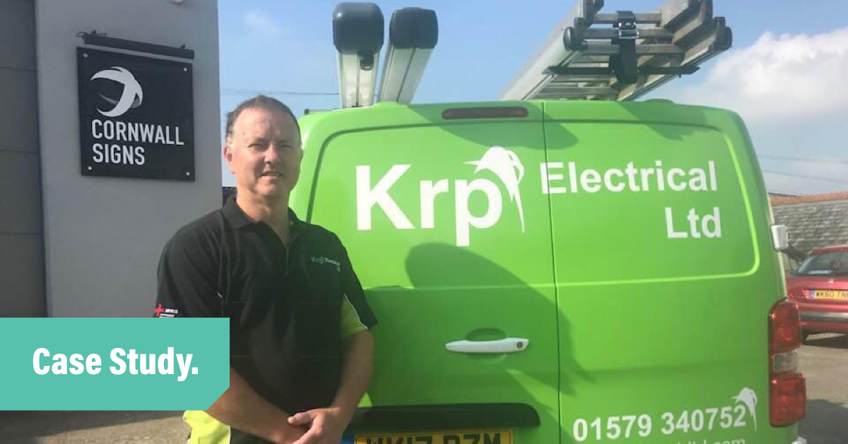 Kieth from KRP Electrical standing outside van
