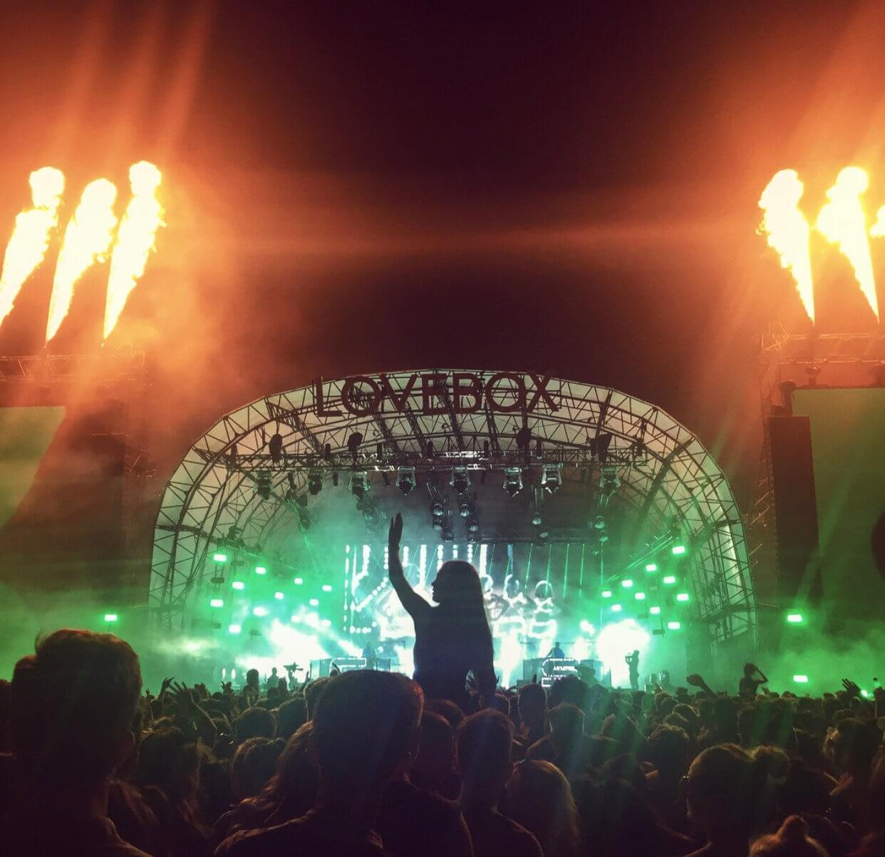 A band plays to a packed stadium at night time at the Lovebox festival in the UK