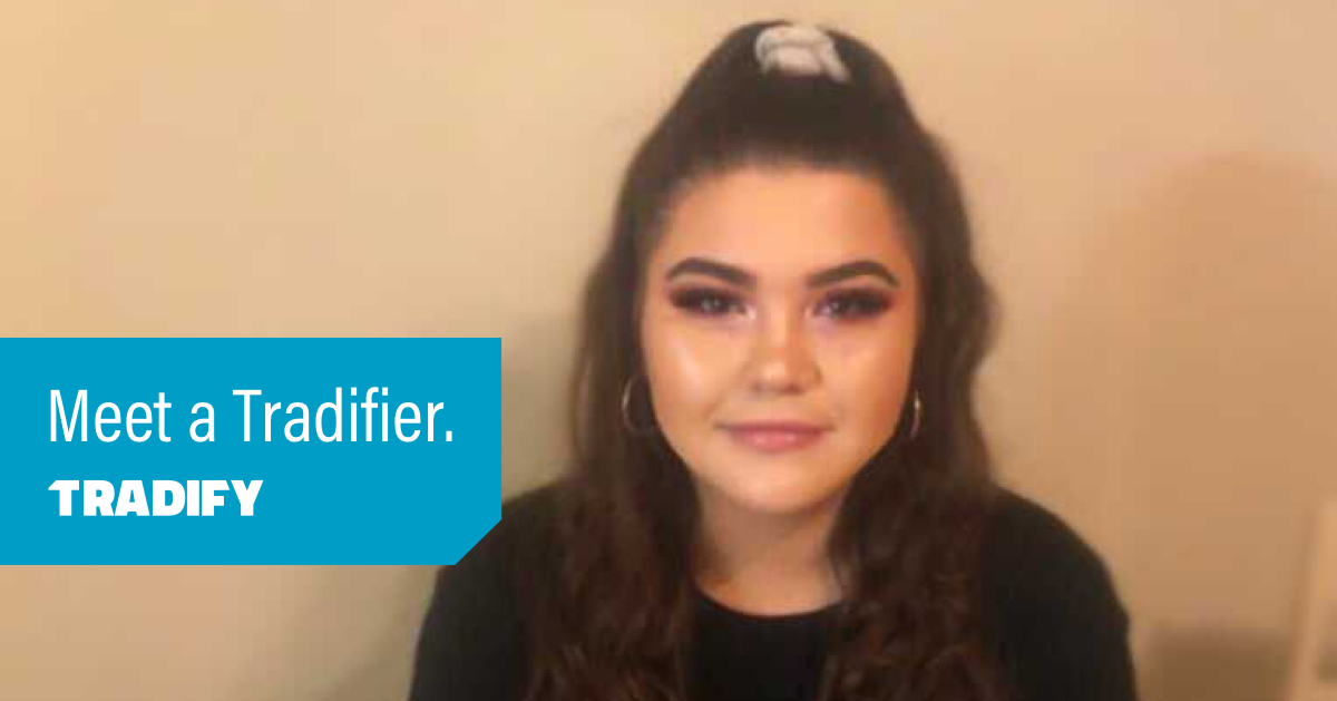 Meet a Tradifier heading with a photo of Amber from UK Sales