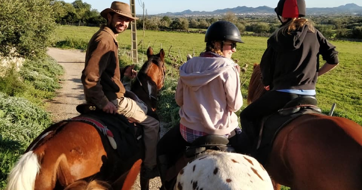 Cahrlie and two of her friends riding horses