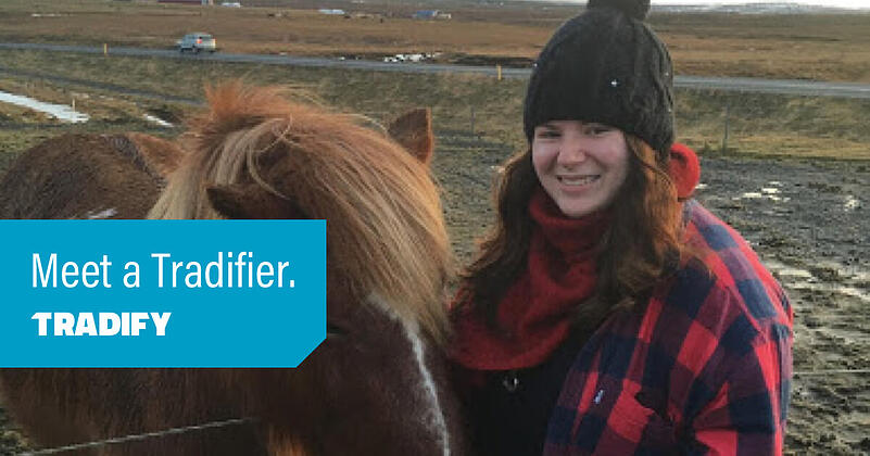Meet a Tradifier heading with a photo of Sam and a pony