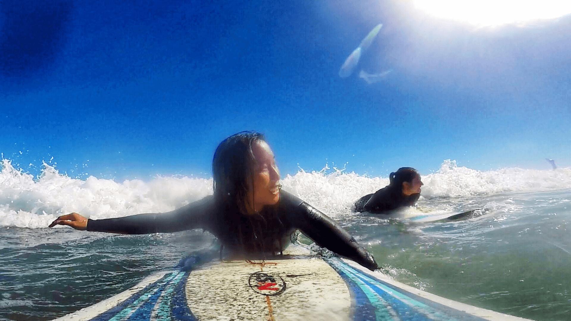 Mat_Amanda_amanda in the water surfing gopro shot