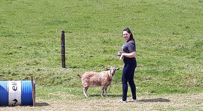 Odette hangs out in a field with a goat