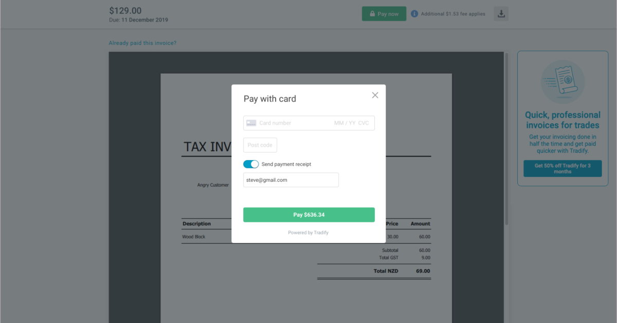 Tradify online credit card payments in web application