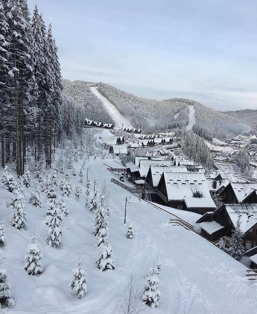 The Carpathian Mountains covered in snow