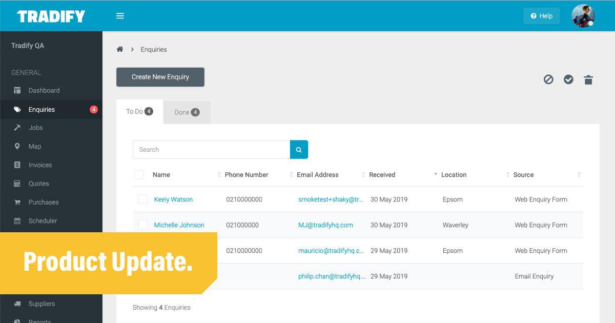Tradify-Product-Update-Enquiries-Screenshot