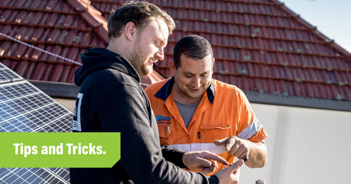 Tradify-Tips-and-Tricks-Header-with-two-Electricians-on-the-job