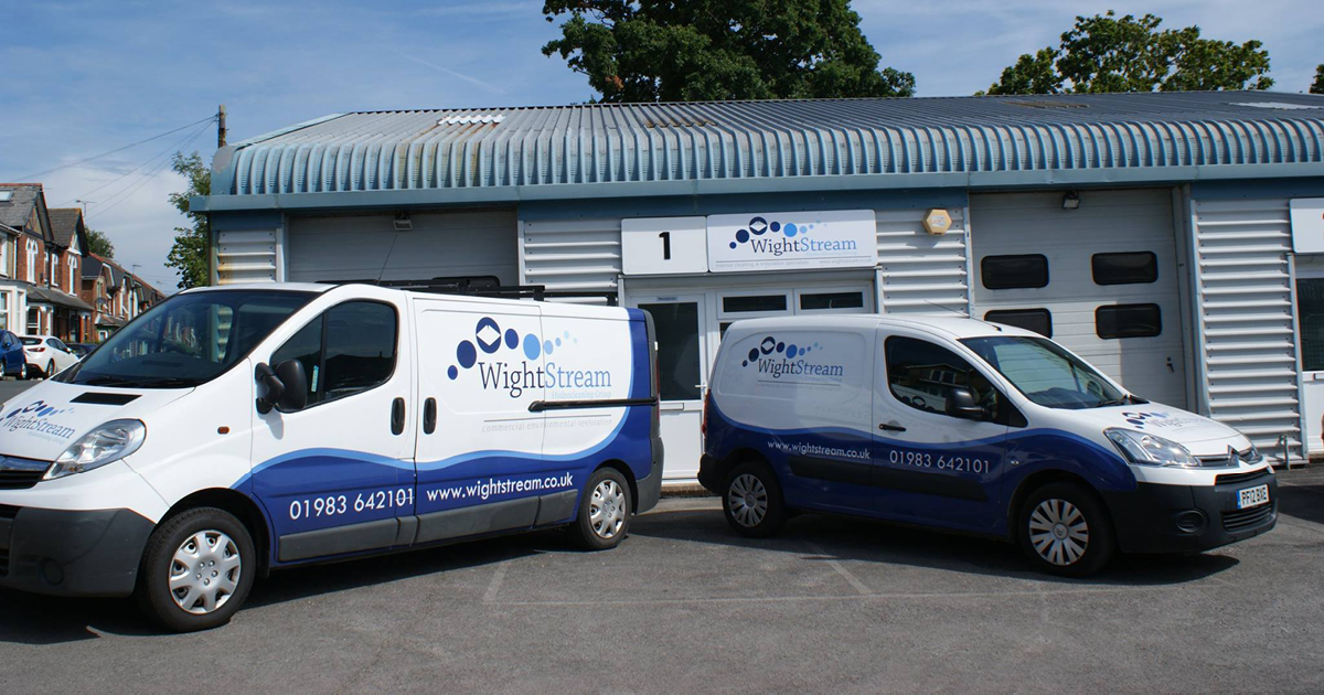 two wightstream cleaning vans