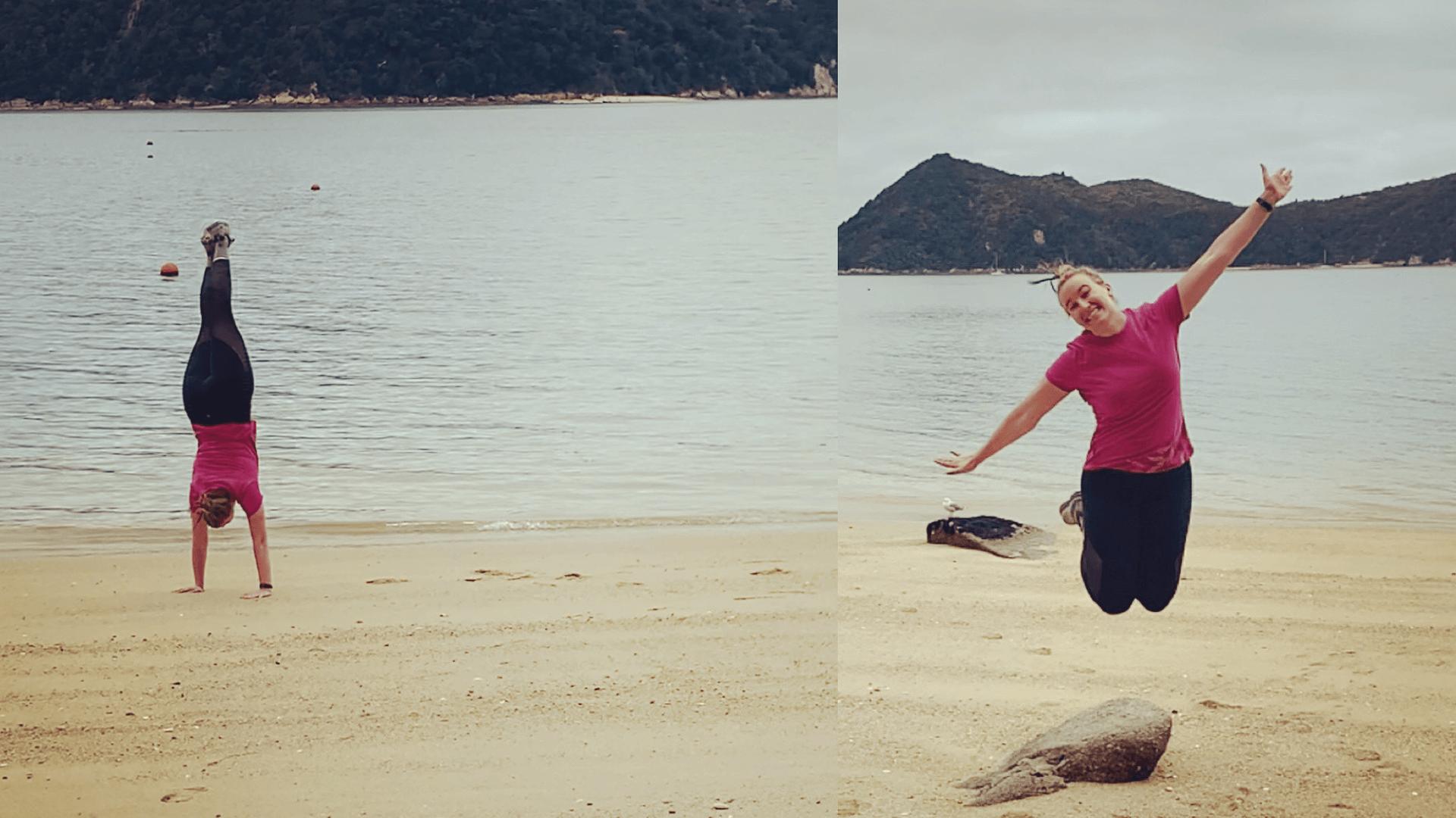mat_kat at the beach doing gymnastics