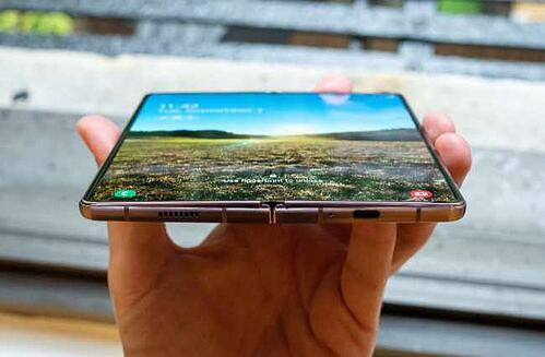 Samsung's Galazy Z Fold phone flipped open to reveal the full screen