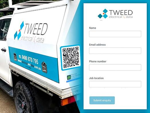 tweed electrical company vehicle with QR code